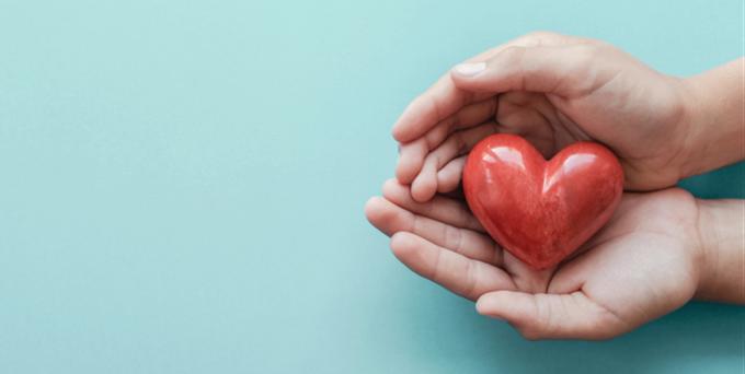 človek drží v dlaniach kameň v tvare srdca